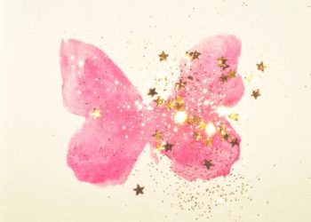 pink watercolor glitter butterfly
