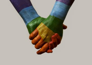 Hands with rainbow flag poster