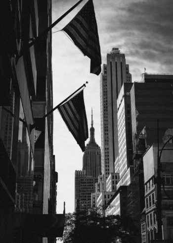 American flags with Empire State