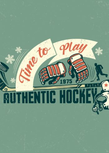 retro hockey accessories poster