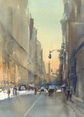 new york street watercolor